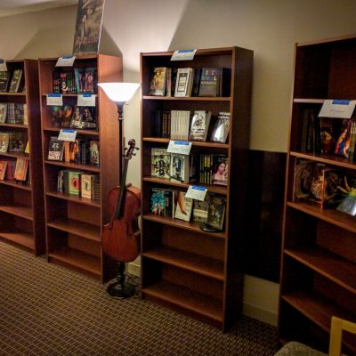 bookshelves with books at the writers' block
