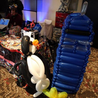 Balloon animal Penguin and balloon Dr Who phonebooth