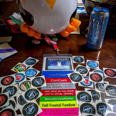 Penguin balloon, penguicon stickers, badge with ribbons